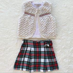 Bundle girls tartan plaid skirt faux fur vest 5